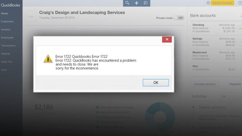 What Are The Signs and Symptoms Of QuickBooks error 1722?
