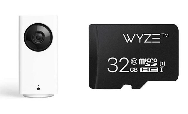 Wyze Cam Pan 1080p Pan Tilt Zoom Indoor Smart Home Camera with Wyze 32GB MicroSD Card Class 10